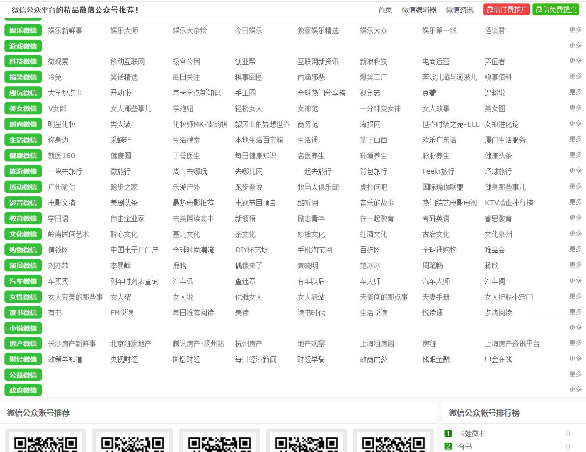 96微信公众账号导航